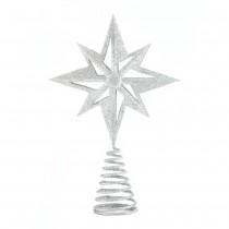 SILVER GLITTER STAR TREE TOPPER