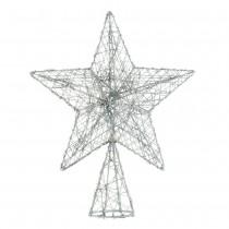 SILVER SPARKLE WIRE STAR TREE TOPPER